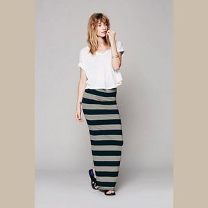 Free People Rugby Stripe Column Maxi Skirt Large
